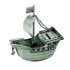 Creative Gifts Pirate Ship Bank, Pewter Finish.