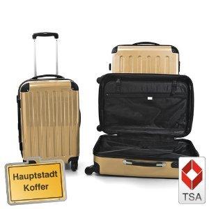 3er Kofferset Hartschale Trolley champagner TSA
