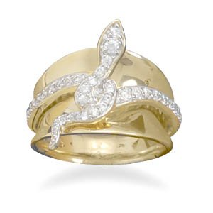 14 Karat Gold Plated and Sterling Silver CZ Snake Ring / Size 6