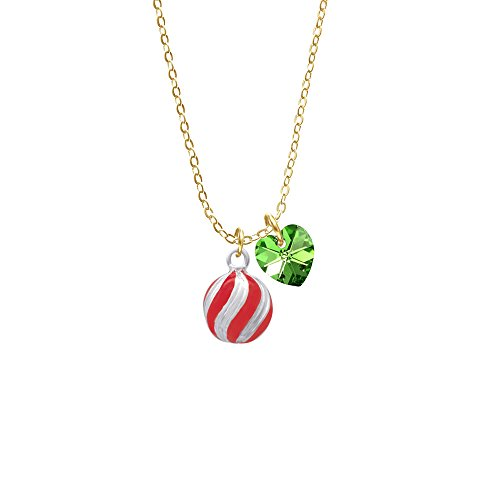 3-D Red And Striped Ornament - Lime Green Crystal Heart Gold Tone Sophia Necklace