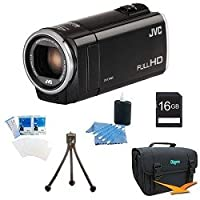JVC GZ-E100BUS - HD Everio Camcorder 40x Zoom f1.8 (Black) with 16GB Bundle by JVC
