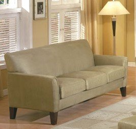 Contemporary Style Sage Green Microfiber Sofa Couch