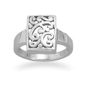 Sterling Silver Rectangle Filigree Design Ring / Size 6