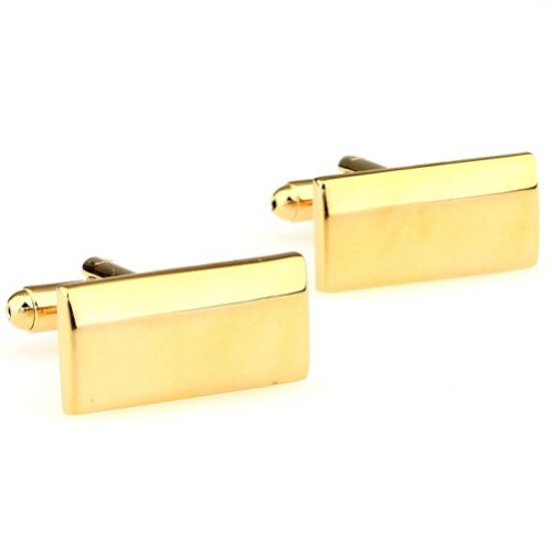 Beour White-gold-plated-silver Delicate Gold Copper Rectangle Cufflinks