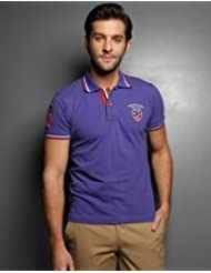 Royal Blue Polo With Pleated Collar