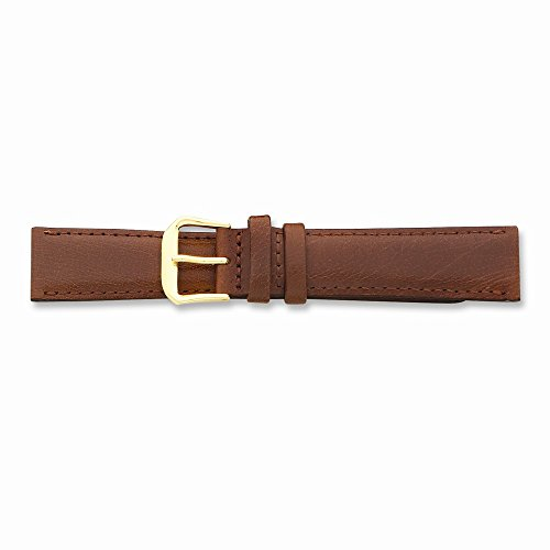 15Mm Havana Smooth Leather Gold-Tone Buckle Watch Band
