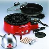 送料無料★クルクル自動たこ焼き器+グリル鍋『たこ焼き工場トントンプラス+溝付き電気グリル鍋』