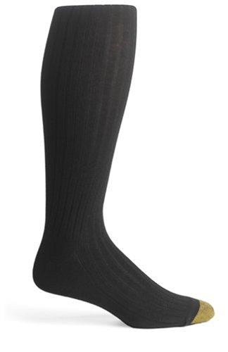 Gold Toe Men's ADC Aquafx Adams Rib Over the Calf Dress Sock, Black