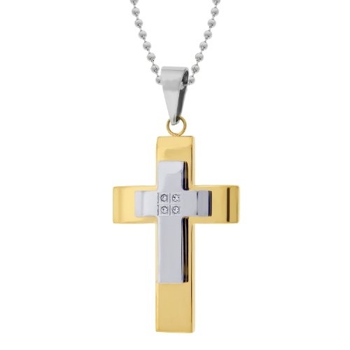 Men's Stainless Steel 2 Layer Cross Pendant Necklace with Cubic Zirconia Gold Ionic Plating