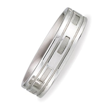 SV47-106 6.00 Millimeters Palladium 950 Wedding Band Ring with Satin Brush Finish and Under-relief Design, Finger Size 7¾