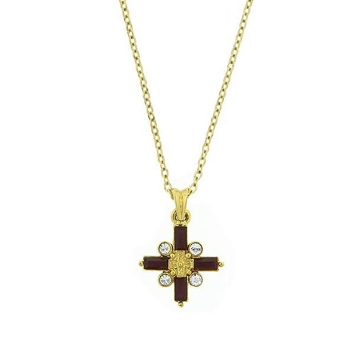 1928 Gold Ruby Cross Necklace