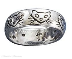 Sterling Silver Cat Faces Ring Size 10