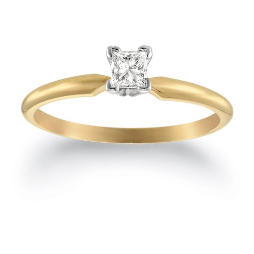 Where Can I Buy 14k Yellow Gold Princess-Cut Diamond Solitaire Engagement Ring (1/4 cttw, H-I Color, SI2-I1 Clarity), Size 9