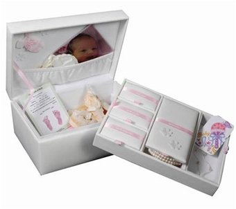 Faux Leather Baby Memories Keepsake Box in Eggshell  Tessa  Jewelry Boxes by Mele  0020150