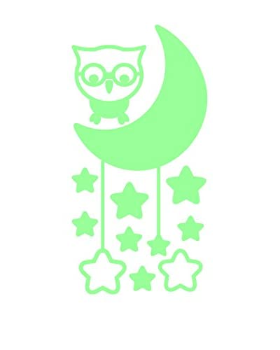 Ambiance Live Vinilo Decorativo Cute Owl With Moon And Stars Glow In The Dark