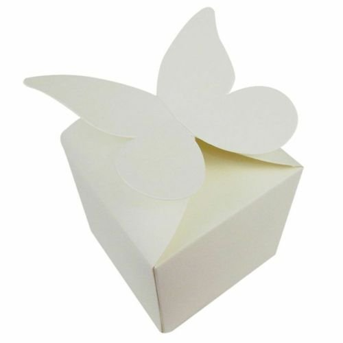 Cheap 100 X Ivory Large Butterfly Top Wedding Favour Boxes Size