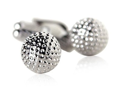 Golf Ball Golfer Silver Cufflinks