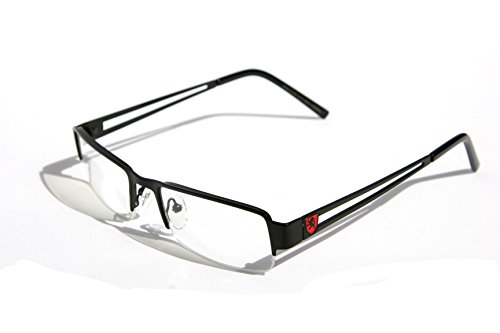 Premium Khan Metal Rectangular Reading Glasses (Black, 3 x) (Extra Wide Reading Glasses compare prices)