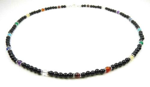 Damali Silver Chakra Necklaces Handmade with 7 Genuine Semi-Precious Gemstoness - MEDIUM 18 in.
