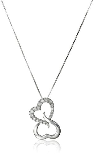 """10k White Gold Open Heart Diamond Pendant Necklace (1/7 cttw, H-I Color, I1-I2 Clarity), 18"""""""
