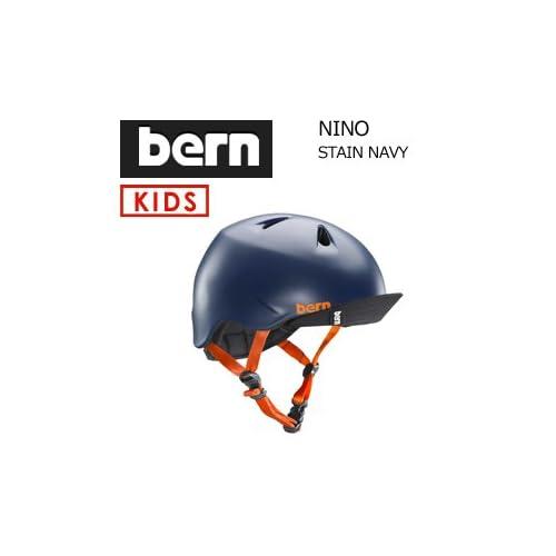 bern バーン 子供用 ヘルメット ストライダー スケートボード スノーボード 自転車 ジャパンフィット NINO SATIN-NAVY VISOR付き S-M(51.5-54.5cm) SATIN-NAVY