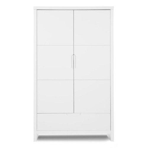 Kleiderschrank – CLASSIC WHITE – SCHRANK 2 TÜREN + 1 LADE, Farbe Weiß, 185x108x54 cm