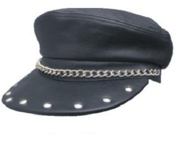 Genuine Solid Leather Black Leather Biker Captain Cap Hat with Studs Annd Chains