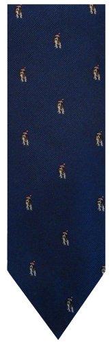 Men's Tommy Hilfiger Necktie Neck Tie Blue with Santa Dog Holiday Tie