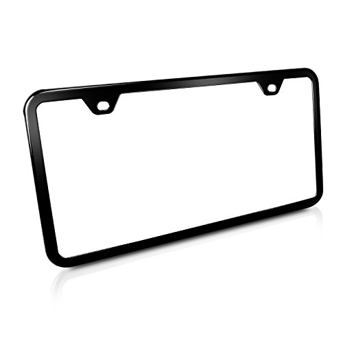 Slim Black Steel License Plate Frame with 2 Holes, Lifetime Warranty (Black Thin License Plate Frame compare prices)