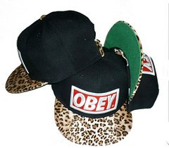 Obey Snapback(Black with Leopard Brim)
