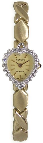 Geneve 14k Gold Diamond Heart Shaped Watch XOXO Band - W1676-O