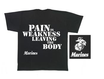MARINES ''PAIN IS WEAKNESS'' T-SHIRT 3 XL