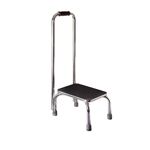 Duro-Med Step Stool with Handle, Silver and Black