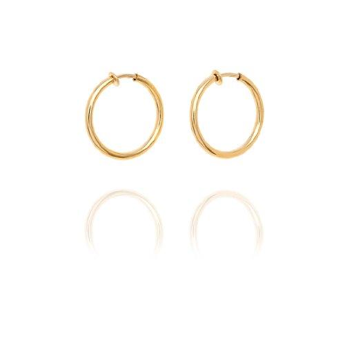 Chunky Creole Hoop Clip On Earrings - 3.2cm - Gold