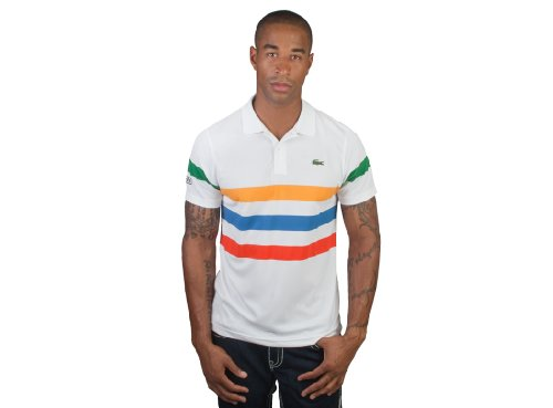 Lacoste Short Sleeve Super Dry Triple Stripe Polo Shirt (L)