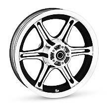 H-D Textured Black Slotted Six-Spoke Wheel- 43577-09