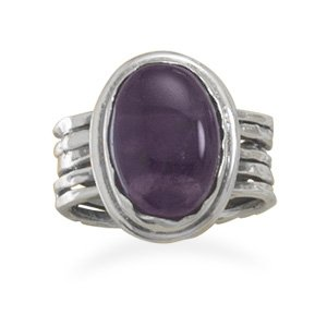 Sterling Silver Oval Amethyst Ring / Size 8