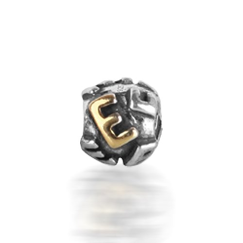 Bling Jewelry 925 Silver Letter E Alphabet Bead Screw Core Chamilia Pandora Bead Style