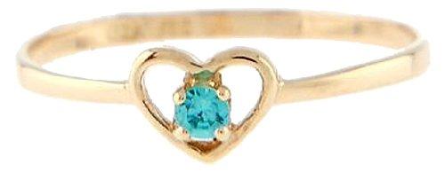 10 Karat Gold March Aquamarine Cubic Zirconia Child Birthstone Ring Size (3)