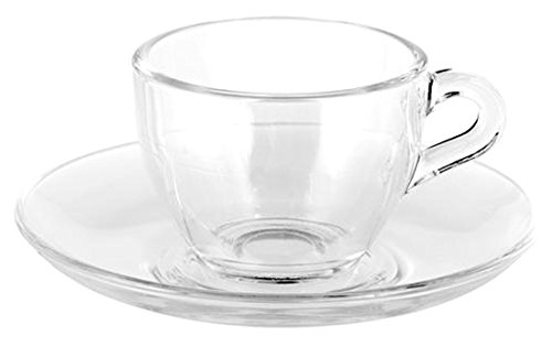 Pasabhace - Set di 6 tazzine da caffè e piattini, capacità 9 cl