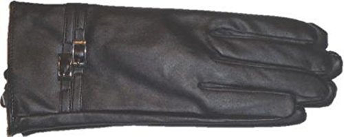 Black Soft Leather Microfiber Lined Luxurious Looking Womens Gloves Size Large