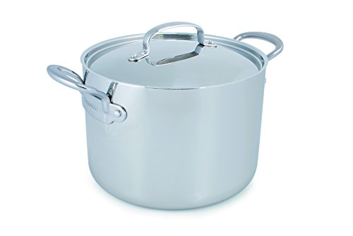 GreenPan CW0004467 Barcelona 8 Quart Triple Layered Stainless Steel Covered Stockpot, Uncoated