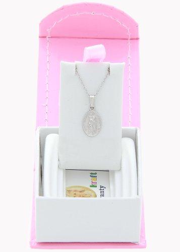 Silver Child Size Oval Saint Christopher Pendant Necklace