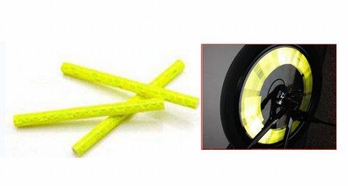 12 Pcs Bicycle Wheel Spoke Reflector Reflective Safety Bicycle Bike Wheel Rim Mount Clip Tube Warning Strip Yellow