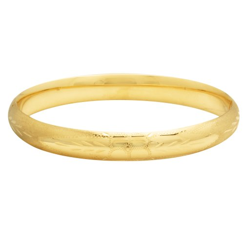Duragold 14k Yellow Gold Diamond-Cut Bangle Bracelet
