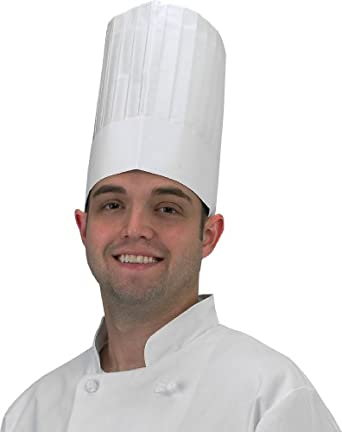 "Chef Revival DCH100 Paper Euro Style Disposable Chef Hat with Linen Finish, 9"" Height (4 Boxes of 25)"
