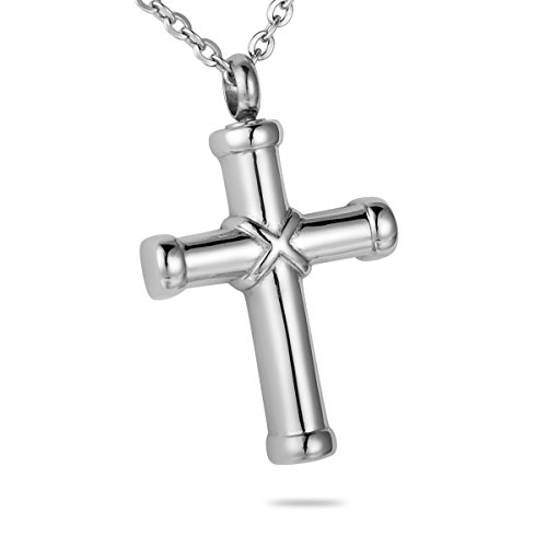 HooAMI Hawser Cross Memorial Keepsake Ash Urn Necklace Stainless Steel Cremation Jewelry (Cross Urn compare prices)