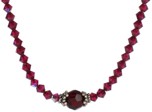 Sterling Silver Ruby Colored Aurora Borealis Swarovski Elements Bicone and Faceted Round Bead Necklace, 16