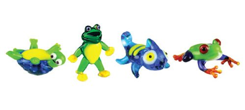 Looking Glass Miniature Collectible - Turtle/Frog/Chameleon (4-Pack)