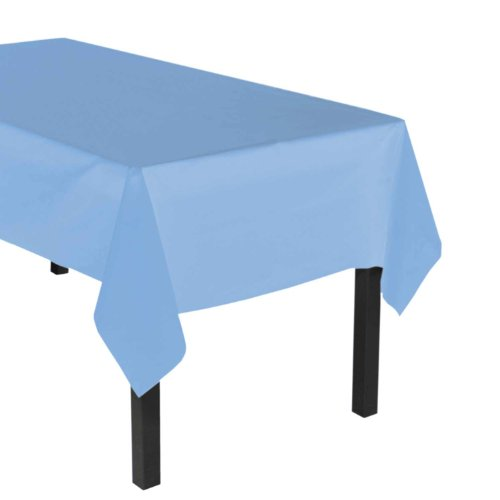"Party Essentials Heavy Duty Plastic Table Cover, 54 x 108"", Light Blue"